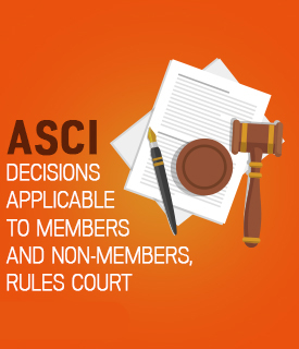 ASCI decisions applicable
